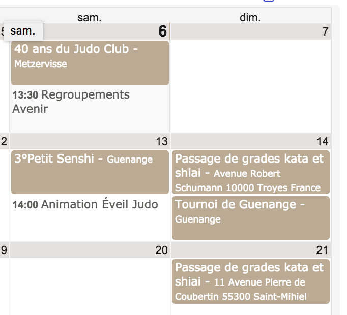 Pied page calendrier sportif